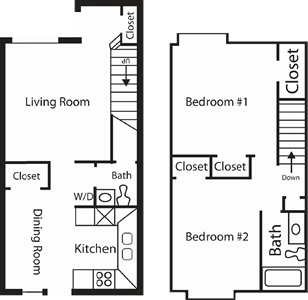 Two Bedroom / One and a Half Bath - 1,100 Sq.Ft.*