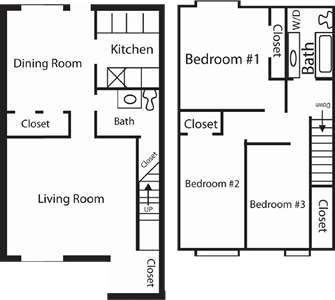Three bedroom / One and a Half Bath - 1,327 Sq.Ft.*